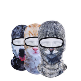 Unisex Ski Mask UK - Newest Popular Unisex Winter Warm 3D Print Animal Ski Hats Outdoor Bicycle Cycling Mask Full Face Beanie Hat
