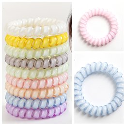 Wholesale hot colors Telephone Wire Cord Gum Hair Tie cm Girls Elastic HairBand Ring Rope Candy Color Bracelet Hair Accessories T2C5049