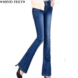1902968f29 Mind Feet Women Jeans Plus Size Female Stretch Slim Denim Flares Pants  Breathable Fashion Bell Bottom Trousers J190426
