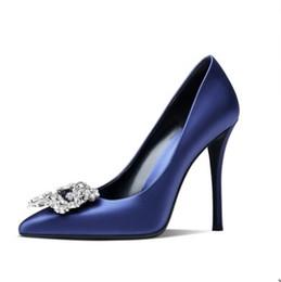 $enCountryForm.capitalKeyWord Australia - Big size shoes new arrvial silk Rhinestone pointed stiletto high heel dress shoes work shoes red black blue colors
