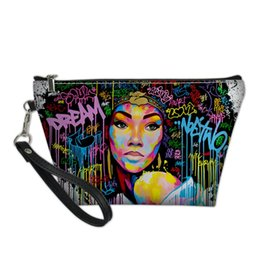 Wholesale african queen online – design African Black Queen PU Makeup Bag Girls Fashion Toiletry Cosmetics Pouchs For Travel Ladies Pouch Women Beautician Bag