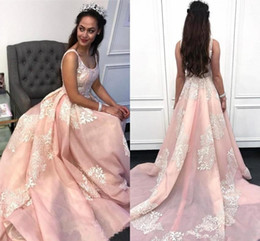 newest quinceanera dresses Australia - Newest Elegant Pink Evening Dresses Arabic A Lace Appliqued Spaghetti Strap Prom Gowns Sweet 15 Quinceanera Dress Robe de mariee