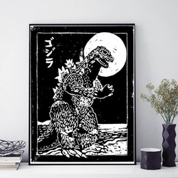 $enCountryForm.capitalKeyWord UK - White Godzilla Paintings Movie Wall Art Canvas Poster Print Canvas Painting Picture For Kid Living Room Home Decoracion