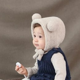 Beanies For Winter Australia - Baby Winter Warm Hat - Cute Bear Ear Toddler Beanie Newborn Hats Plush Babys Cap Photography Accessories For 0-1 Age