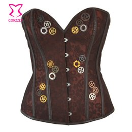 Brown Brocade With Gear Steampunk Steel Boned Corset Overbust Vintage Gothic  Clothing Korsett For Women Sexy Burlesque Costume f0a55e73459d