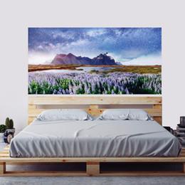 $enCountryForm.capitalKeyWord Australia - New 2pcs set 3D DIY Landscape Lavender Bedside Art Mural Sticker Mountain River Wall Sticker Home Decor PVC Starry Sky Poster