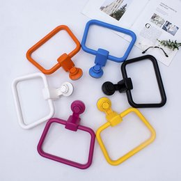 light suction cups UK - European Sucker Towel Hanger Rack Vacuum Strong Suction Cup Towels Ring Kitchen Punch Free Rag Cleaning Arrangement Drying Racks