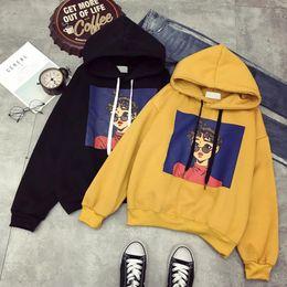 Cool korean Clothing online shopping - 2019 Winter Korean Harajuku Hooded Women Sweatshirts Cool Girl Print Thickening Female Hoodies Ulzzang Bf Student Hooded Clothes