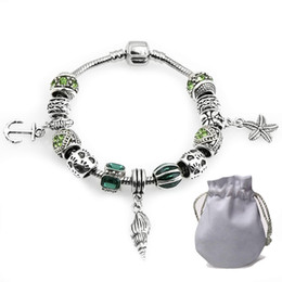 $enCountryForm.capitalKeyWord Canada - Cheap Cuff Bracelets Fit Pandora Women Bangle Silver Openwork Spacer Charms Beads Hollow Starfish Conch Pendant Green Cubic Zircon P178