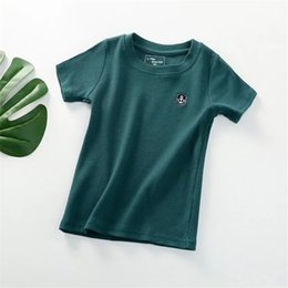 Plaid Tee Kids Australia - 2-7T Designing Boat Anchor Embroidery Summer Kids Tees Pure Solid Cotton Green Summer Boys Girls Tshirt Girls Short Sleeve T-shirts Free DHL