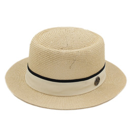 men fedora black straw NZ - Fashion Women Men Summer Wide Straw Pork Pie Hat Outdoor Travel Beach Sun Boater Cap Fedora Church Hat