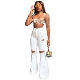 $enCountryForm.capitalKeyWord Australia - White Blue new women hole cut out high waist wide leg long jeans fashion active wear long denim pants summer trouser
