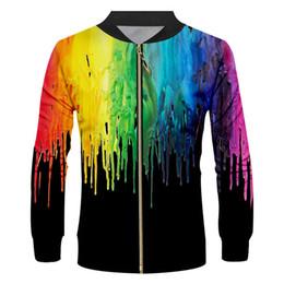 $enCountryForm.capitalKeyWord Australia - Novelty Black College Baseball Jackets Coats Unisex 3d Rainbow paint Print Varsity Sports Team Uniform Outwear Custom S-6XL