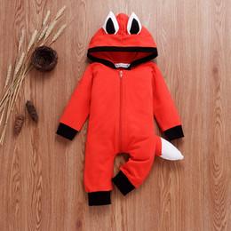 Wholesale ear tail costume online – ideas 2019 autumn new ins explosion models infant costume long sleeved fox ear tail orange red hooded robes romper children s jumpsuit P023