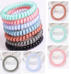 hair bands designer Canada - New Designer Accessories Candy Color Telephone Wire Cord Headband for Women Girls Elastic Hair Rubber Bands Hair Ties Hair Jewelry WCW227
