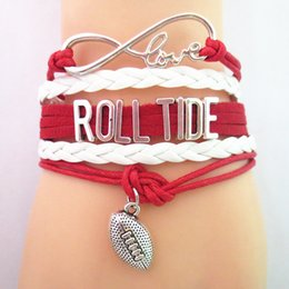fashion wristbands bracelets Canada - Fashion Infinity Love Rolltide Football College Team Bracelet Red White Customized Wristband Friendship Bracelets B09197
