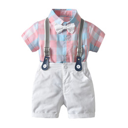 China boys sets 2019 summer NEW arrival boys Kids plaid romper+ kids white shorts high quality Cool and breathable cotton boys sets free ship suppliers