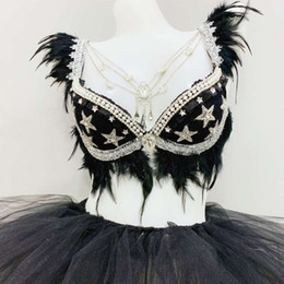 $enCountryForm.capitalKeyWord Australia - Sexy Stage Costume Women Black Feather Sparkly Rhinestones Bra Tutu Skirts Nightclub DJ Singer Bar Party Pole Dance Wear DT971