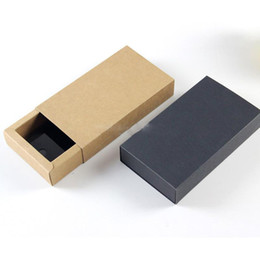 Packaging For Lipstick Australia - 14*7*3cm Black Brown Drawer Shaped Gift Boxes Kraft Paper Cardboard Packaging Box for Bow Tie Accessories