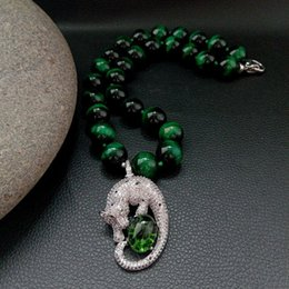 Necklaces Pendants Australia - 14mm Round Green Tigers Eye Cz Pave Necklace Pendant 18'' J190615