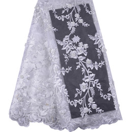 China 2019 high quality Luxury Handmade embroidery white bridal African lace fabrics manual nail beads french lace fabric A1014 supplier nails bridal suppliers