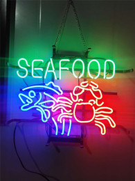 "rohs display Canada - SEA FOOD ME057 NEON SIGN HANDICRAFT LIGHT BEER BAR PUB REAL GLASS TUBE LOGO ADVERTISEMENT DISPLAY NEON SIGNS 17"" 19"" 24''"