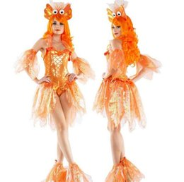 MerMaid woMan costuMes online shopping - Halloween Golden Fish Costumes Sexy Adult Women Paten Mermaid Theme Party Costume Halloween Classic Women Cosplay Suits