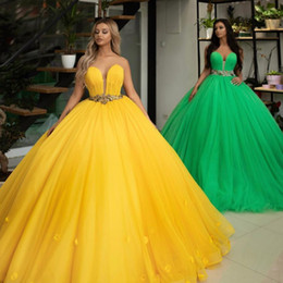 yellow flower brooches Canada - ball gown prom dresses 2020 sweetheart neckline hand made flowers tulle floor length yellow evening dresses arabic formal dress
