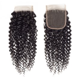 closure density Australia - 4*4 Malaysian Kinky Curly Closure Human Hair Lace Closure Free Middle Part 130% Density Natural Black Remy Kinky Curly Closure