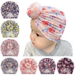 indian cotton wholesalers UK - 24 colors Cute Infant Toddler Unisex Ball Knot Indian cap Kids Turban Spring Autumn Caps Baby Donut Hat Flower Cotton Hairband