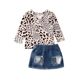 girls ripped shirts UK - 1-5Y Toddler Baby Kid Girls Clothing Sets Baby & Kids Clothing Clothes Sets Long Sleeve Leopard T-shirts+Ripped Denim Skirt Outfits Summer