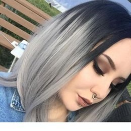 human hair grey lace front wigs Canada - A Black Grey Ombre Wigs Short Bob Cut Hair Styles Virgin Malaysian Full Lace Front Silver Grey Ombre Human Hair Wigss For Black Women