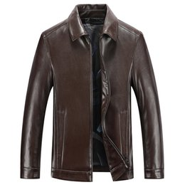 Mens sheepskin leather jacket online shopping - Mens Sheepskin Leather Jackets Genuine Leather Coats Casual Tops Outerwear Overcoat Spring Autumn Clothing Plus Size M XL XL