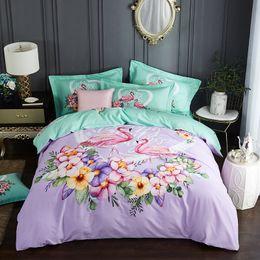 $enCountryForm.capitalKeyWord Australia - Watercolor Floral Printed Bedding Set Queen King Size Duvet Cover Flat Sheets Pillowcase Soft Cotton Fabric Home Textiles