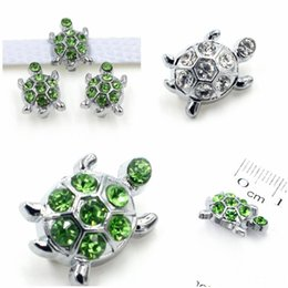 $enCountryForm.capitalKeyWord Australia - Lovely Crystal Tortoise Slide Charms Green White Rhinestone Turtle Slider For 8mm Bracelet Wristband DIY Jewelry Making