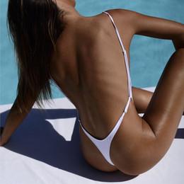 $enCountryForm.capitalKeyWord NZ - Backless Bather Female Solid High Leg One Piece Swimsuit Thong Monokini White Black Red Sexy Women Swimwear G-String Swim Suit
