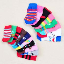 Socks Mix Shoes Australia - 10sets lot Mixed Colors Dog Socks Cotton Material Nonskid Pet Dog Socks Warm Skidproof Dog Socks
