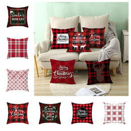 Style bedding online shopping - hot Christmas Pillow Case Fashion Deer Print Red Check Style Pillow Covers Cushion Covers Christmas decoration Bedding SuppliesT2I5579