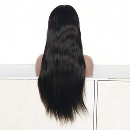 Cheap Middle Part Lace Wig Australia - 22 Inch Middle Part Brazilian Human Remy Hair Full Lace Wig , 150% Density Cheap Indian Hair Natural Color Lace Front Wig
