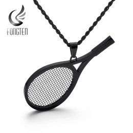 tennis racket jewelry UK - Fongten Tennis Racket Pendant Necklace Gold Black Silver Stainless Steel Sport Pendants Fashion Jewelry