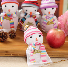 Discount gift bags dhl shipping - Hot sale Christmas Apple Candy Gift Bags Christmas Decorations Ornaments Snowman Christmas Eve Apple Bags DHL free ship