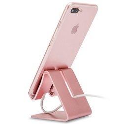Ipad Tablet Stands NZ - Cell Phone Stand, Aluminum Metal Tablet Stand, Mobile Phone Holder for iPhone iPad Samsung for Desk Table Bedroom Kitchen (Rose Gold)