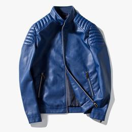 Men short sleeve leather jackets online shopping - men faux leather jacket military leather jackets motorcycle biker coats outerwear windbreaker spring autumn overcoat blue red black
