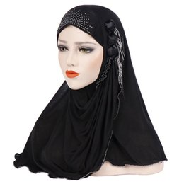 Discount flowers design hijab Flower Design Tassel Soft Muslim Full Cover Inner Women's Hijab bonnet Cap Islamic Underscarf Neck Head Bonnet Hat