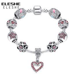 Tibetan Silver Bracelet Bangle Australia - ELESHE Tibetan Silver Bracelets For Women Crystal Heart Charm Bracelet&Bangle With CZ Beads Bracelet Jewelry Pulseiras