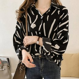 Wholesale 2019 Fashion Women Tops Autumn Hand Painted Shirts Femme Long Sleeve Chiffon Blouse Large Size Print Blusas Camisas Mujer