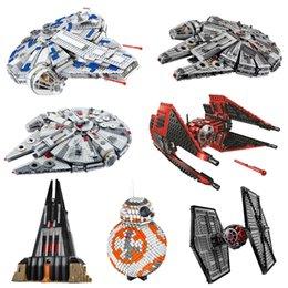Wholesale stars wars for sale – custom Star Toys Wars Millennium Falcon TIE Fighter Darth Vader Castle Building Blocks DIY Brick For Kids Toys Gift CX200613