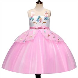 $enCountryForm.capitalKeyWord Australia - Christmas Unicorn Rainbow Dress For Baby Girl Costume Fancy Kid Prom Bridesmaid Wedding Frock Back To School Child Ceremony Disguise Dress