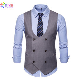 $enCountryForm.capitalKeyWord Australia - Brand Yufeiyan Casual Men Vest Suit Gray 4XL Business Vest Suit U-neck Double Breasted Formal Wedding Waistcoat for Men