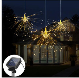 $enCountryForm.capitalKeyWord Australia - 120Led 200 Led Solar Lamp Starburst String Light Copper Wire Solar Panel Powered Fairy DIY Firework Xmas Explosion Wedding Light